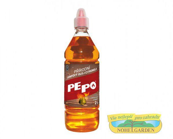 Olej lampový Pe-Po CITRONELA 1l Lampový olej je vhodný pro všechny typy olejových lamp a zahradních pochodní. Jedná se o přírodní produkt z obnovitelných zdrojů. Je biologicky dobře odbouratelný