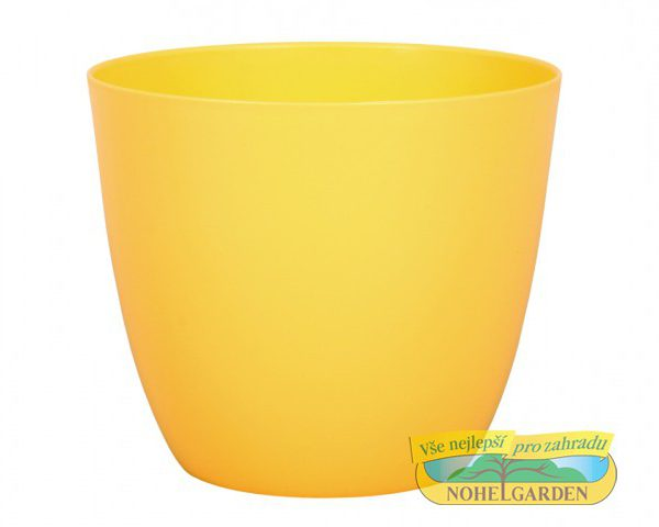 Obal Patricie 25 cm žlutý Matný antracitový plastový jemně kónický obal pro květníky s interiérovýma rostlinama. Rozměry: d. 25 x v. 22cm