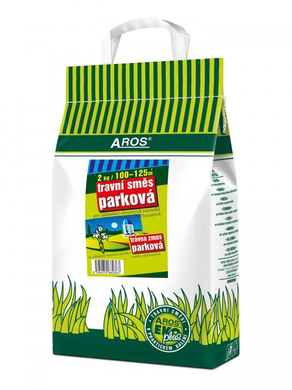 Travní směs Parková 2 kg Aros Pro okrasné trávníky a parkové plochy - běžná zátěžVhodná pro mírně zatěžované okrasné trávníky parků a zahrad. Do receptury jsou zařazeny druhy a odrůdy s hustým zapojením a nižší tvorbou zelené hmoty