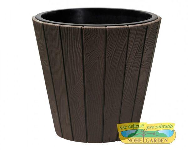 Obal Woode 39 cm hnědý Vyšší obal na květník s designem připomínající dřevo. Je odolný vůči UV záření a vůči mrazu. Součástí je vnitřní vložka. Výška: 39 cm