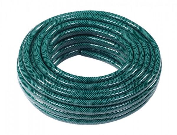 Hadice EKONOMIK 5/8 20m Flexibilní 5/8 coulová hadice je vyztužena třemi vrstvami. Vnitřní část je odolná vůči výskytu řas. Vyznačuje se odolností vůči UV záření. Barva: transparentní zelená. Délka: 20 m.