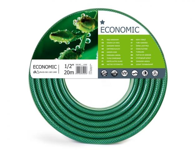 Hadice EKONOMIK 1/2 20m Flexibilní 1/2 coulová hadice je vyztužena třemi vrstvami. Vnitřní část je odolná vůči výskytu řas. Vyznačuje se odolností vůči UV záření. Barva: transparentní zelená. Délka: 20 m.