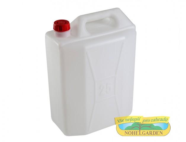 Kanystr bez kohoutku 25 l Kanystr s úzkým hrdlem umožňuje snadnou manipulaci při přepravě kapalin.Má certifikát pro styk s pitnou vodou. Kanystr je bez kohoutku. Objem: 25 l.