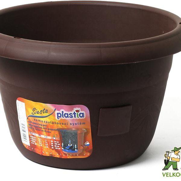 Žardina samozavlažovací Siesta bez závěsu 30 cm čokoláda Popis:Žardiny s profesionálním zavlažovacím systémem. Možno dokoupit kovový řetízek na pověšení.Materiál:plastBarva:čokoládováRozměry:průměr: 30 cmvýška: 19 cm