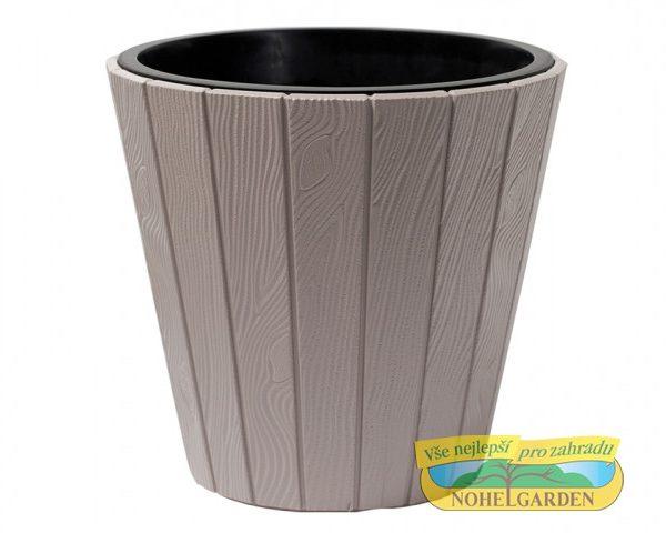 Obal Woode 39 cm hnědo šedý Vyšší obal na květník s designem připomínající dřevo. Je odolný vůči UV záření a vůči mrazu. Součástí je vnitřní vložka. Výška: 39 cm
