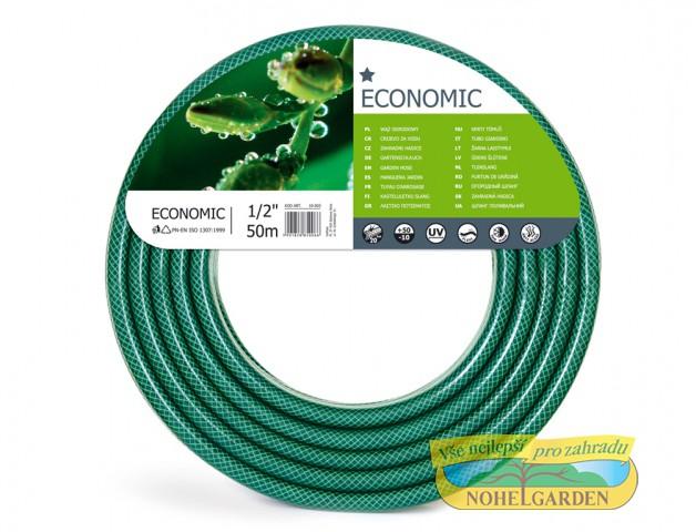 Hadice EKONOMIK 1/2 50m Flexibilní 1/2 coulová hadice je vyztužena třemi vrstvami. Vnitřní část je odolná vůči výskytu řas. Vyznačuje se odolností vůči UV záření. Barva: transparentní zelená. Délka: 50 m.