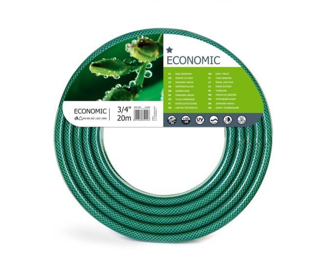 Hadice EKONOMIK 3/4 20m Flexibilní 3/4 coulová hadice je vyztužena třemi vrstvami. Vnitřní část je odolná vůči výskytu řas. Vyznačuje se odolností vůči UV záření. Barva: transparentní zelená. Délka: 20 m.