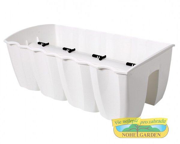 Truhlík na zábradlí Crown 58 cm bílý Plastový truhlík je vhodný k jednoduchému připevnění na zábradlí různých velikostí. Ve své spodní části má po celé délce vlisovaný zářez