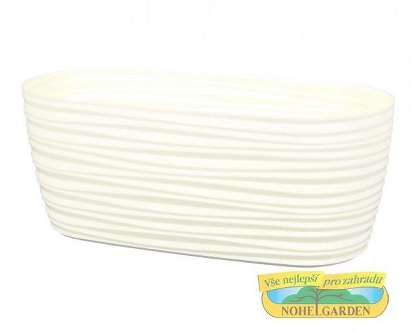 Truhlík Sahara Petit 27 cm béžový Lesklý plastový truhlík s jemnými vlnkami po celém obvodu. Šířka: 27 cm