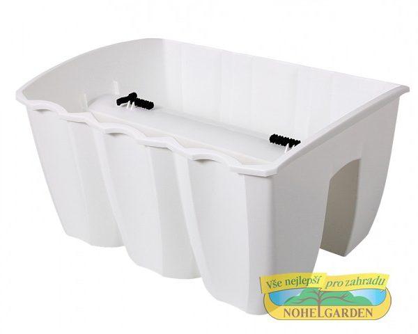 Truhlík na zábradlí Crown 39 cm bílý Plastový truhlík je vhodný k jednoduchému připevnění na zábradlí různých velikostí. Ve své spodní části má po celé délce vlisovaný zářez