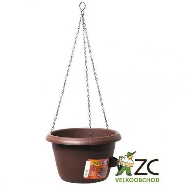 Žardina samozavlažovací Siesta závěs 30 cm čokoláda Popis:Žardina s profesionálním zavlažovacím systémem (včetně kovového řetízku na zavěšení).Materiál:plastBarva:čokoládováRozměry:průměr: 30 cmvýška: 19 cm