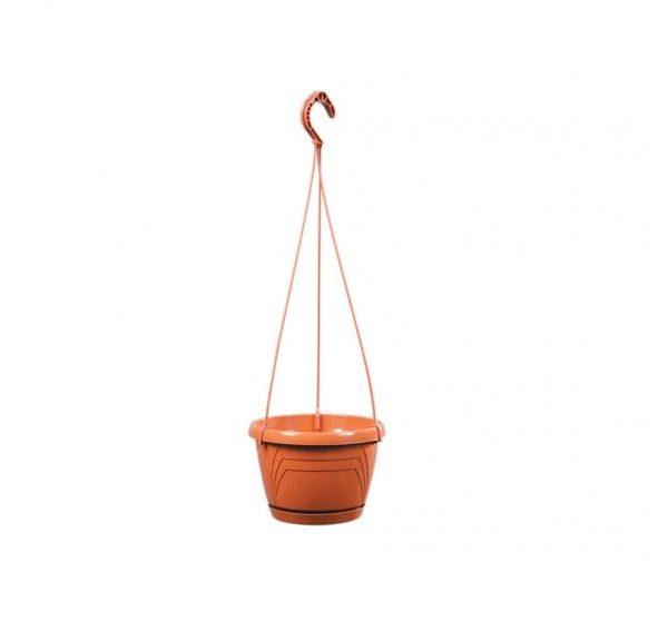 Květináč závěsný LOGATO 25 cm terakota Plastový lesklý závěsný květník s podmiskou. Na květníku jsou vylisovány od horního k dolnímu okraji trojúhelníky. Hodí se k zavěšení s vysazenými převislými rostlinami. Rozměry: d. 25 x 17cm.