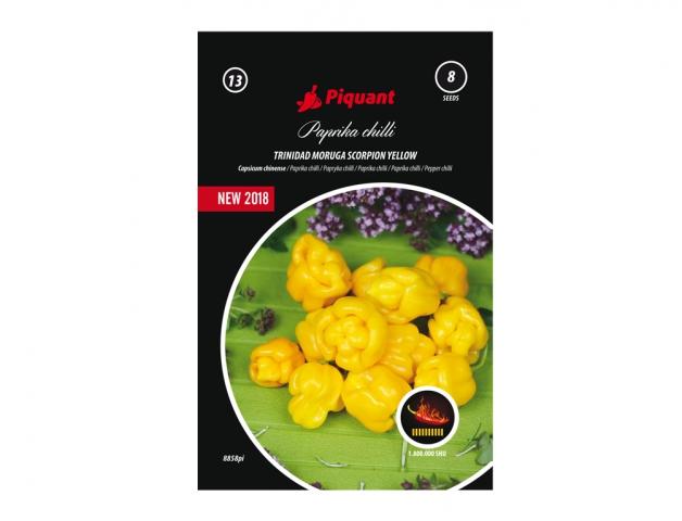 Paprička chilli Trinidad Moruga Scorpion Yellow Pozdní odrůda velmi silně pálivé papriky. Plody jsou typicky svraštělé