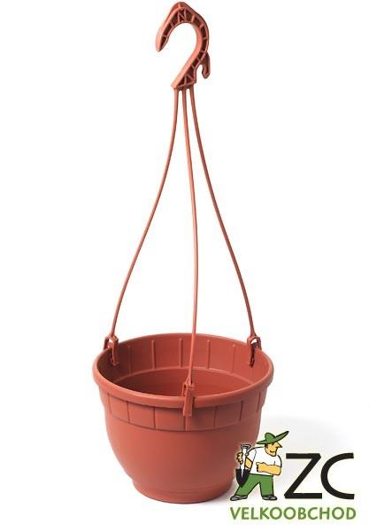 Květináč závěsný Siena 14 cm terakota Popis:Plastový závěsný květináč s miskou v barvě teracota (včetně plastového závěsu - trojnožky).Materiál:plastBarva:teracotaRozměry:průměr: 14 cmvýška: 10