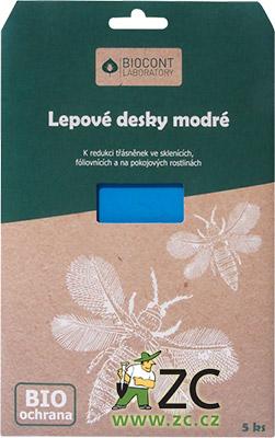 Desky Biocont modré - skleník 5 ks Popis a použití:Modrá barva těchto lepových desek mimořádně intenzivně láká třásněnky. Desky jsou vhodné k signalizaci výskytu škodlivých třásněnek a kontrole účinnosti ochrany před nimi