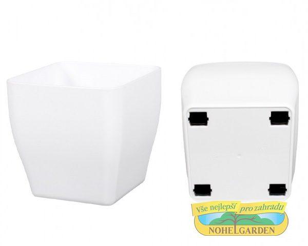 Obal Living Quadrato 30 x 30 x 30 cm bílý s kolečky Lesklý hranatý obal na květník z kvalitního plastu se 4 kolečky.Rozměry: 17 x 17 x 17 cm.