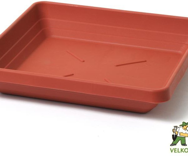 Miska Lotos 50 x 50 cm terakota Popis:Čtyřhranná plastová miska v matném provedení vhodná pod květináč Begonia.Materiál:plastBarva:teracotováRozměry:rozměr: 42 x 42 cmvýška: 7