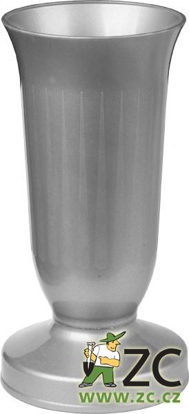 Váza hřbitovní KALICH těžké dno stříbrná Popis:Plastová váza se zátěží v podstavci určená především na hřbitov
