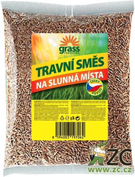 Travní směs Grass - na slunná místa 500 g Popis:Travní směs GRASS - na slunná místa je určena pro založení travnatých ploch na místech