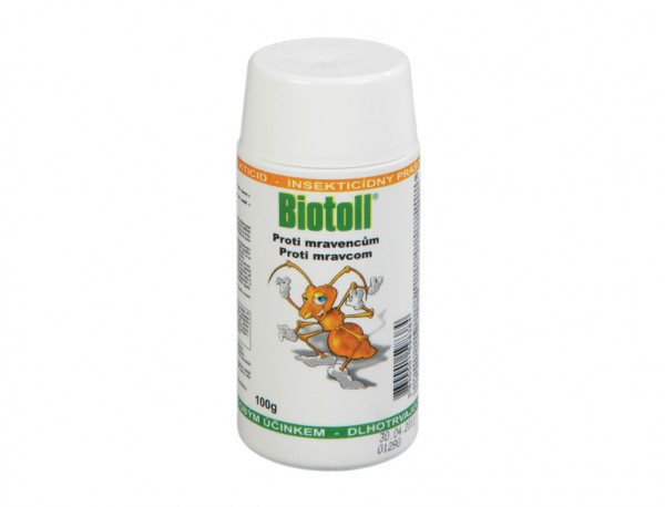 Biotoll - Mravenci 100 g prášek Účinná látka: Permethrin 5 g / kg.Popis a působení:Biotoll insekticidní prášek proti mravencům je nástraha k hubení mravenců pronikajících z venku do budov