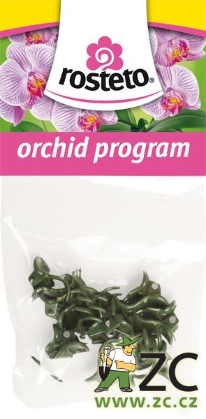 Klips univerzální Rosteto 10 ks Popis:Dekorativní klipsy slouží k uchycení květního stvolu orchidejí k opěrné tyčce. Jsou balené po 10ks v igelitovém sáčku s EURO závěsem - pro možnost zavěšení na stojan.Materiál:plastBarva:tmavě zelenáRozměry:šířka klipsu 1