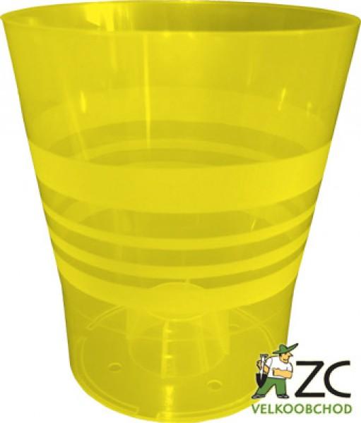 Obal Orchid Kamelie 13 cm žlutý Popis:Plastový květináč pro orchideje. Zvýšené dno zajišťuje