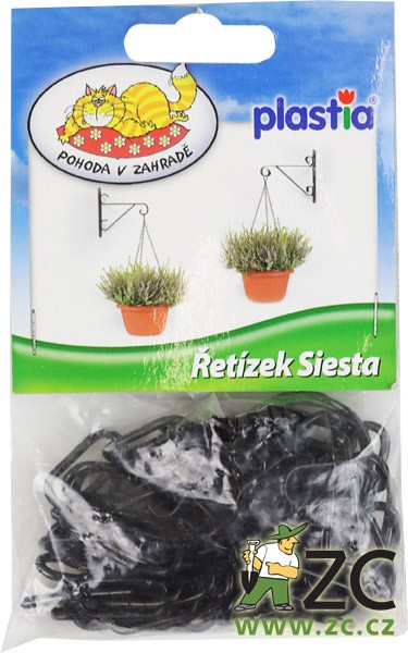 Závěs na květináč - řetízek Siesta (35 cm) Popis:Řetízek sloužící k zavěšení žardin a květináčů Siesta ( délka 40 cm ).Materiál:kovBarva:černá