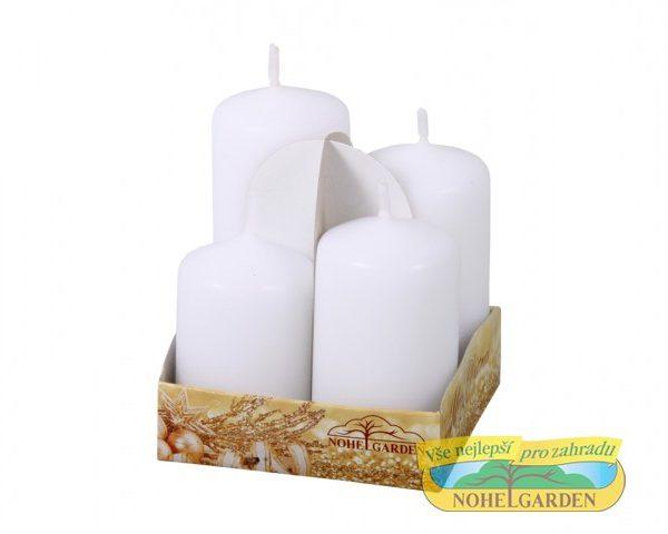 Svíčky adventní STUPŇOVITÉ matné d4x6/7/8/9cm 4ks 4 adventní svíčky matné bílé barvy ve tvaru válce setříděné dle výšky. Velikost: d4 x 6/ 7/ 8/ 9 cm.