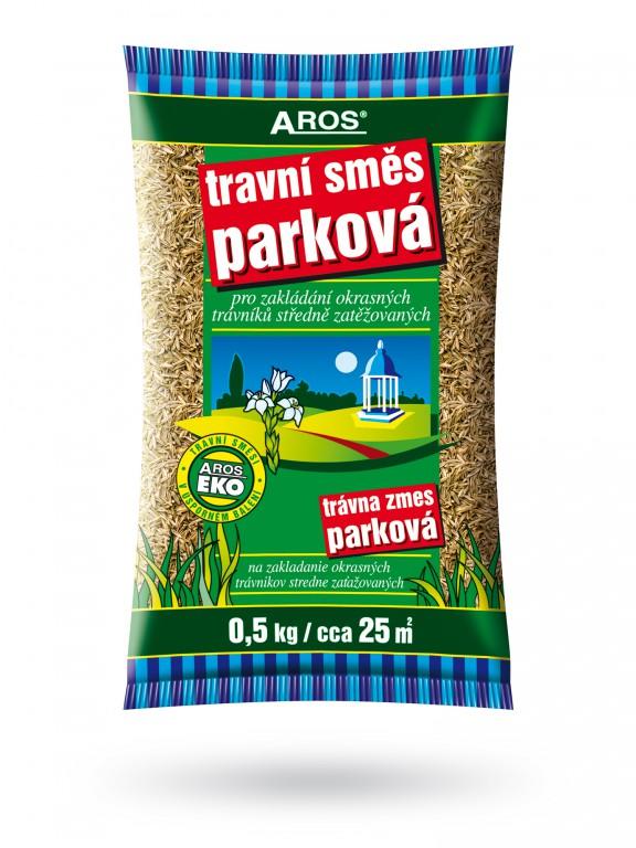 Travní směs Parková 500 g Aros Vhodná pro méně zatěžované okrasné trávníky parků a zahrad. Do receptury jsou zařazeny druhy a odrůdy s nižší tvorbou zelené hmoty. 0.5 kg sáček na cca 25 m2