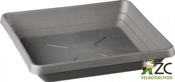 Miska Lotos 25 x 25 cm antracit Popis:Čtyřhranná plastová miska v matném provedení vhodná pod květináč Begonia.Materiál:plastBarva:antracitová (šedá)Rozměry:rozměr: 21 x 21 cmvýška: 3