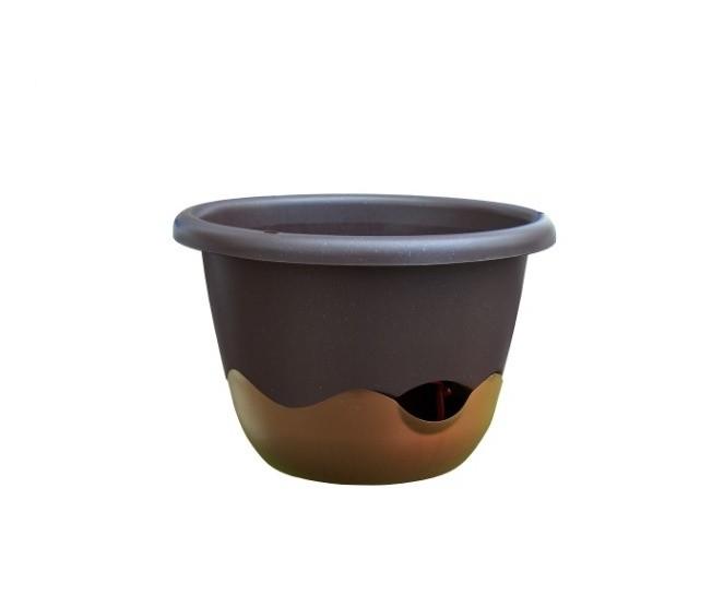 Květináč závěsný samozavlažovací Mareta 25 cm čokoládová + bronzová Popis:Závěsný samozavlažovací květináč Mareta svým hravým barevným designem ozdobí Váš dům