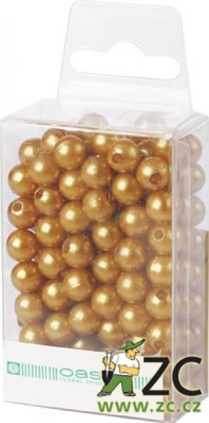 Dekorační perly - 8 mm (144 ks) zlaté Popis:Dekorační umělohmotné navlékací perly v průhledné plastové krabičce na zavěšení