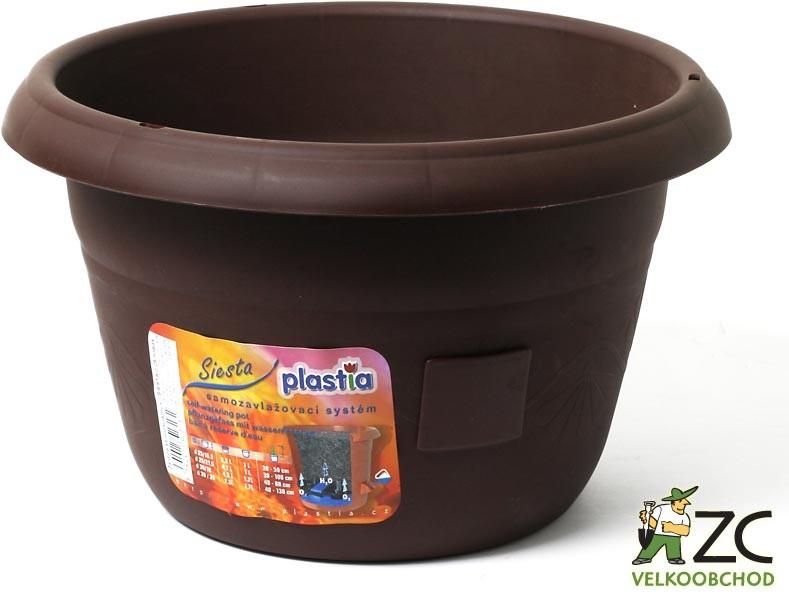 Žardina samozavlažovací Siesta bez závěsu 35 cm čokoláda Popis:Žardiny s profesionálním zavlažovacím systémem. Možno dokoupit kovový řetízek na pověšení.Materiál:plastBarva:čokoládováRozměry:průměr: 35 cmvýška: 20 cm