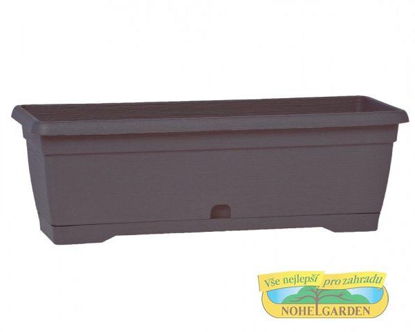Truhlík samozavlažovací MiniSimilcotto 25 cm antracit Plastový samozavlažovací truhlík s hrubším povrchem - dezén v podobě tenkých proužků.Šířka: 25 cm