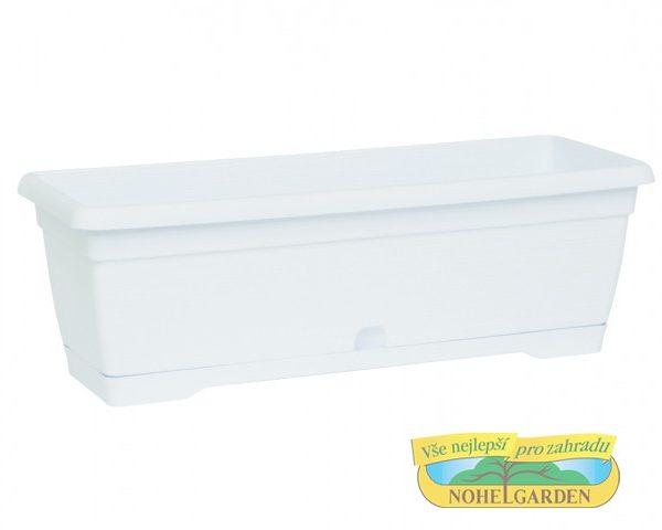 Truhlík samozavlažovací MiniSimilcotto 25 cm bílý Plastový samozavlažovací truhlík s hrubším povrchem - dezén v podobě tenkých proužků.Šířka: 25 cm