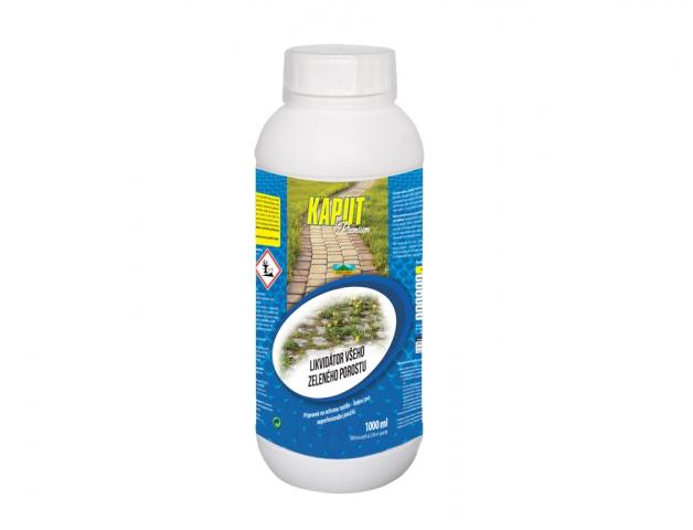Kaput Premium 1l účinná látka: glyphosate 480 g / l Popis a působení:Kaput je postřikový herbicidní přípravek ve formě kapalného koncentrátu pro ředění vodou k hubení vytrvalých a jednoletých plevelů na orné půdě a k likvidaci nežádoucí vegetace na ostatních plochách. Rostlinami je přijímán výhradně zelenými částmi a asimilačním prouděním je rozváděn do celé rostliny včetně podzemních orgánů rostliny. Účinek je patrný asi 10 dní po aplikaci. Typickými příznaky je nejprve vadnutí