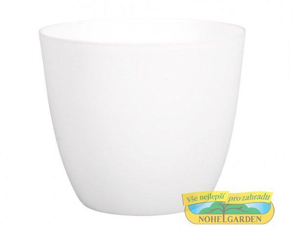 Obal Patricie 25 cm bílý Matný antracitový plastový jemně kónický obal pro květníky s interiérovýma rostlinama. Rozměry: d. 25 x v. 22cm