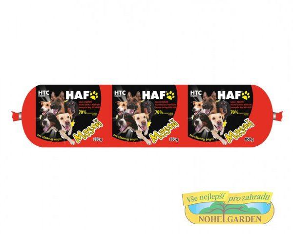 HAF Salám MASOŇ s hovězím masem 850g Chutný salám s hovězím masem a zeleninou. Je vhodný pro všechny psy. Složení: 70 % masa a produkty živočišného původu