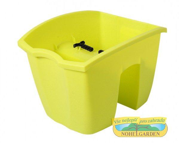 Truhlík na zábradlí Crown 24 cm světle zelený Plastový truhlík je vhodný k jednoduchému připevnění na zábradlí různých velikostí. Ve své spodní části má po celé délce vlisovaný zářez