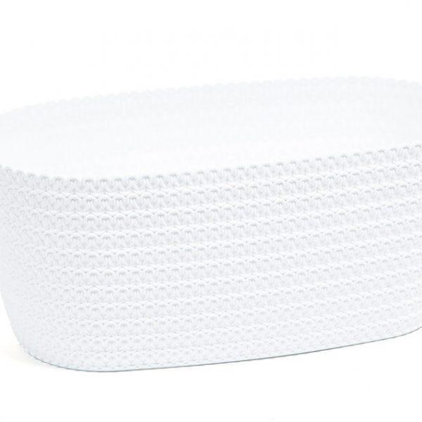 Truhlík Jersey 38 cm bílý Matný plastový truhlík s efektem evokujícím pleteninu. Barvy jsou odolné vůči UV záření. Šířka: 38 cm
