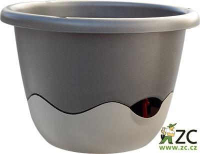 Květináč závěsný samozavlažovací Mareta 25 cm antracit tmavý + světlý Popis:Závěsný samozavlažovací květináč Mareta svým hravým barevným designem ozdobí Váš dům