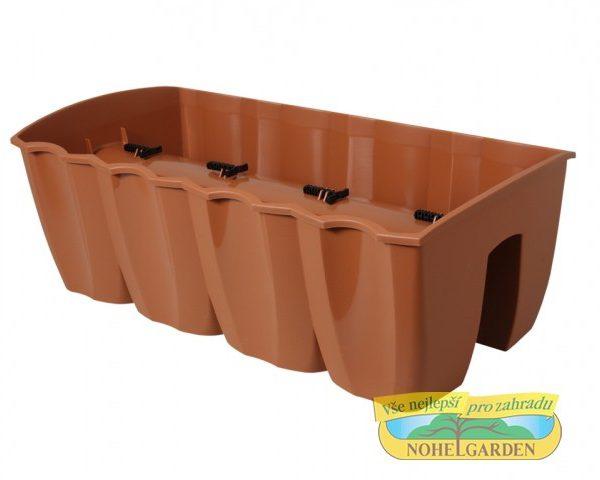 Truhlík na zábradlí Crown 58 cm terakota Plastový truhlík je vhodný k jednoduchému připevnění na zábradlí různých velikostí. Ve své spodní části má po celé délce vlisovaný zářez