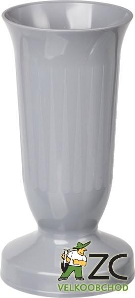 Váza hřbitovní KALICH těžké dno šedá Popis:Plastová váza se zátěží v podstavci určená především na hřbitov