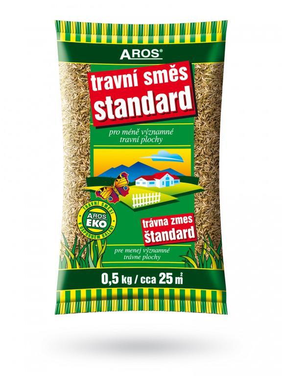 Travní směs Standard 500 g Aros Ideální k rychlému ozelenění méně významných travních ploch. Její složení obsahuje druhy a odrůdy s rychlým počátečním růstem