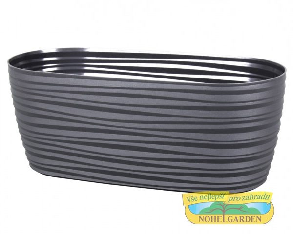 Truhlík Sahara Petit 27 cm antracit Lesklý plastový truhlík s jemnými vlnkami po celém obvodu. Šířka: 27 cm