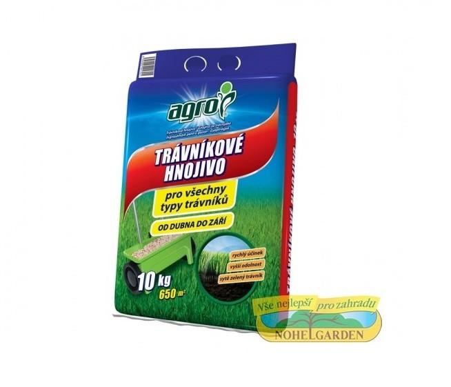 Trávníkové hnojivo 10kg Kombinované granulované bezchloridové travní hnojivo vhodné pro základní hnojení travnatých ploch na začátku i během vegetace. Má rychlý účinek. Obsahuje hořčík pro sytě zelenou barvu trávníku a síru nezbytnou pro jeho růst a zdravý vzhled. Složení: dusík – fosfor – draslík (20-8-8) + 3 % hořčíku + 4 % síry. Dávkování: 10 kg hnojiva vystačí cca na 650 m2 plochy. Balení: 10 kg. Je vybaveno odnosným uchem. Možno použít jako náhradní náplň do Agro kyblíku.