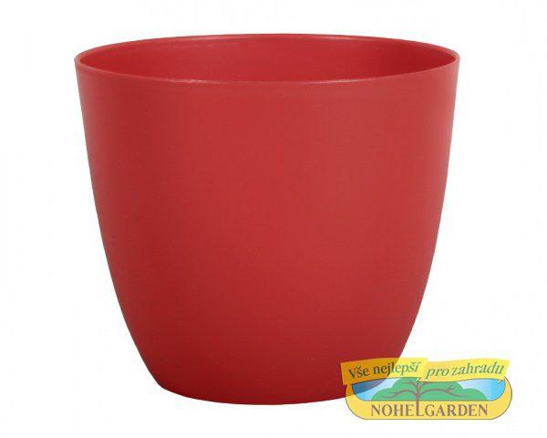 Obal Patricie 25 cm červený Matný antracitový plastový jemně kónický obal pro květníky s interiérovýma rostlinama. Rozměry: d. 25 x v. 22cm
