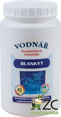 Vodnář Blankyt Chlorové tablety - 1kg Popis a použití:Blankyt je pomalu rozpustný dezinfekční přípravek ve formě tablet pro ošetření vody v plaveckých bazénech. Tablety jsou bílé o hmotnosti 200g