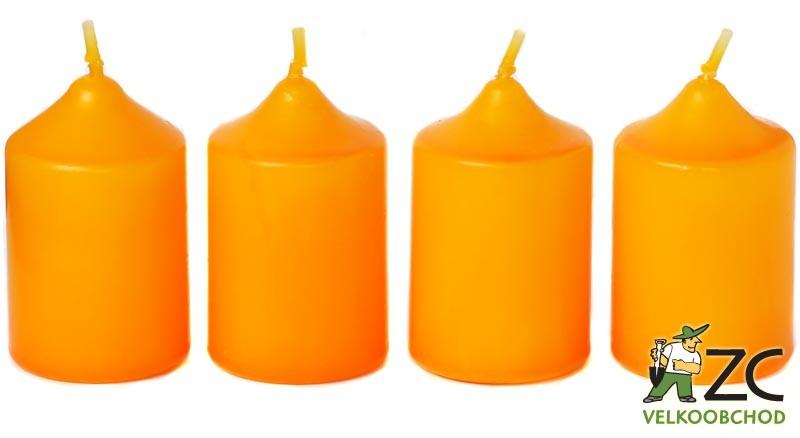Svíčka adventní 40x60 mm - oranžová (4ks) Popis:Svíčky vhodné ke zdobení adventních věnců