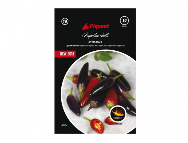 Paprička chilli Royal Black Polopozdní odrůda dekorativní pálivé papriky. Plody jsou velmi malé